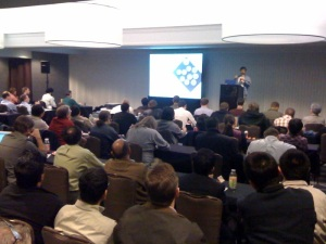 Dell's Rob Hirschfeld discussing cloud bootstrapping to packed house...